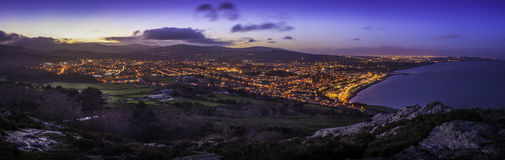 City of Bray. Bray town from Bray Head at sunset Royalty Free Stock Photography