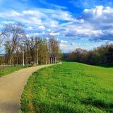 City break path. Shot from green side park Cmrok in Zagreb, Croatia Royalty Free Stock Photo