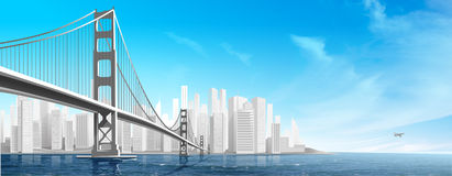 City Bridge. Illustration With The Plane On The Blue Background Royalty Free Stock Photos