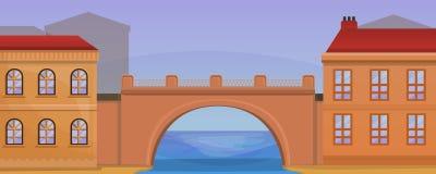 City bridge concept banner, cartoon style vector illustration