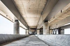 Empty concrete bridge construction. City bridge construction industrial scene empty background stock image