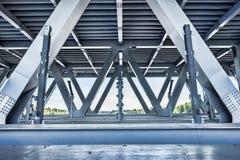 Metallic bridge construction. City bridge construction industrial scene empty background stock photos