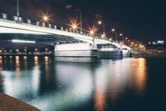 City  bridge. At night with light Stock Photography