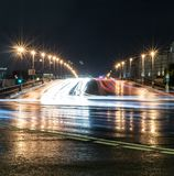City bridge, street with lights and traffic at night. background, city life. Stock Photography