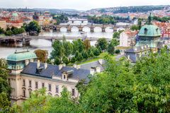 City bridge view. Photo shows the bridge, river and some old houses in Prague Royalty Free Stock Image