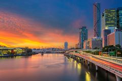 City of Brisbane. Cityscape image of Brisbane skyline, Australia during dramatic sunset royalty free stock photography
