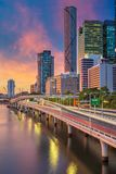 City of Brisbane. Cityscape image of Brisbane skyline, Australia during dramatic sunset stock photos