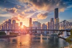 City of Brisbane. Brisbane. Cityscape image of Brisbane skyline, Australia with Story Bridge during dramatic sunset royalty free stock images