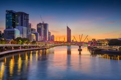 City of Brisbane. Cityscape image of Brisbane skyline, Australia during sunrise stock image