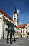 The city of Brno. - Czech Republic - Europe. St. Thomas Church in the city center and the statue of Markrabe Josta of Luxembourg Royalty Free Stock Photos
