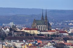 The city of Brno, Czech Republic-Europe. Top view of the city with monuments and roofs. Ancient churches Petrov. Royalty Free Stock Photo
