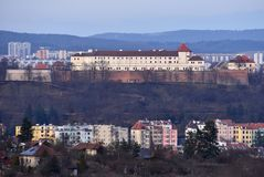 The city of Brno, Czech Republic-Europe. Top view of the city with monuments and roofs. Castle Spilberk. Stock Photos