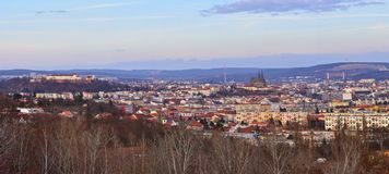 The city of Brno, Czech Republic-Europe. Top view of the city with monuments and roofs. Panorama photo. Ancient churches Petrov an Royalty Free Stock Photo