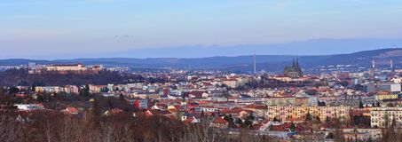 The city of Brno, Czech Republic-Europe. Top view of the city with monuments and roofs. Panorama photo. Ancient churches Petrov an Stock Photo