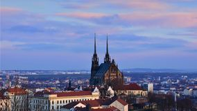 The city of Brno, Czech Republic-Europe. Top view of the city with monuments and roofs. Royalty Free Stock Image