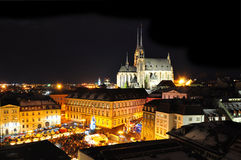 City of Brno. At night, Petrov cathedral and historical buildings of Zelny Trh at christmas time stock photo