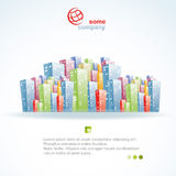 City Brochure. Template for advertising brochure with city colorful 3-d buildings Stock Images