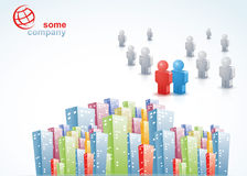 City Brochure 3D People. Template for advertising brochure with city colorful 3D buildings and people Stock Images