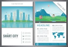 City brochure with urban landscape and suburb. Template of magazine, poster, book cover, banner, flyer. Big city and Royalty Free Stock Photos