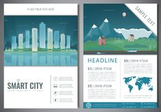 City brochure with urban landscape and suburb. Template of magazine, poster, book cover, banner, flyer. Big city and Stock Images