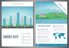 City brochure with urban landscape and suburb. Template of magazine, poster, book cover, banner, flyer. Big city and Stock Image