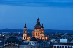 St Stephen Basilica in Budapest City at Dusk Royalty Free Stock Photos