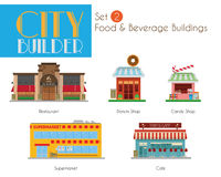 City Builder Set 2: Food and Beverage Buildings Royalty Free Stock Photography