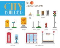City Builder Set 11: Urban elements Vector Illustration set. With litter bins, mailboxes, billboard, drinking fountains, hydrant, traffic lights, phones boxes royalty free illustration