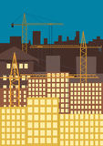 City building. Raster illustration, City building with tower cranes against the evening sky Stock Photography