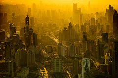 City building. Rigorous modeling overlooking Shanghai, China, different styles of buildings, one high-rise buildings erected as general forest. Sunset Stock Photo