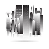 City building black icon design in vector format on white background Royalty Free Stock Photos