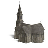 City Building Church. 3D rendering with clipping Royalty Free Stock Photo
