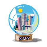 City building in glassball - vector royalty free illustration