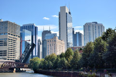 City building group and Chicago river view. City skyscrapers and view of Chicago river, Chicago, Illinois, United States.nPhoto taken in October 6th, 2014 Royalty Free Stock Photos