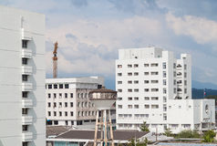 City building. Hatyai city,White building and sky, songkhla thailand Royalty Free Stock Images