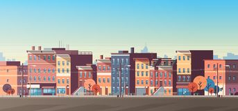 City building houses view skyline background real estate cute town concept horizontal banner flat. Vector illustration royalty free illustration