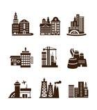 City building icons set Stock Photo