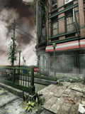 City building with ivy. Abandoned city building and street with ivy stock illustration