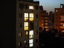 City building at nighttime Royalty Free Stock Photos