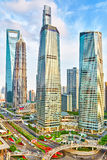 City building of Pudong, Shanghai, China. Stock Photo