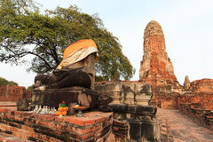 City building remain, Buddha statue of Phra Ram Temple (Wat Phra Ram) ruins in province of Ayutthaya, Thailand Royalty Free Stock Photos