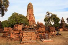 City building remain, Buddha statue of Phra Ram Temple (Wat Phra Ram) ruins in province of Ayutthaya, Thailand Royalty Free Stock Photography