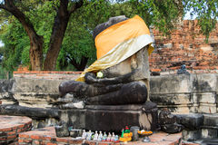 City building remain, Buddha statue of Phra Ram Temple (Wat Phra Ram) ruins in province of Ayutthaya, Thailand Stock Image
