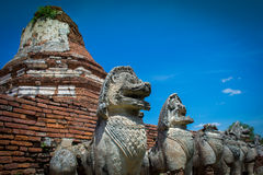 City Building Remain Of Temple In Ayutthaya, Historical Park In Stock Photo