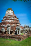 City building remain of Temple in Ayutthaya, Historical Park in Royalty Free Stock Image