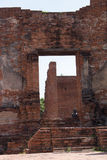 City building remain of Temple in Ayutthaya, Historical Park in Stock Photography