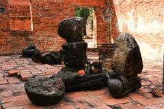 City building remain of Wat Worachet Temple ,The Ancient Siam Civilization Stock Photos