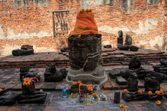 City building remain of Wat Worachet Temple ,The Ancient Siam Civilization Stock Photography