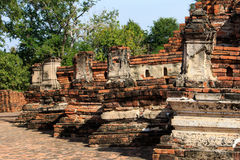 City building remain of Wat Worachet Temple ,The Ancient Siam Civilization Royalty Free Stock Images