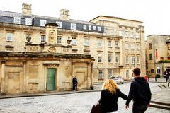 City building scene. BATH, ENGLAND - OCT, 18: Local and domestic tourist atmosphere scene during sightseeing old roman city atmosphere represent cultural and royalty free stock photos